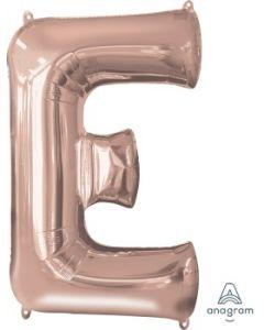 Letter E Rose Gold Supershape Foil Balloon