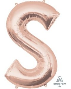 Letter S Rose Gold Supershape Foil Balloon