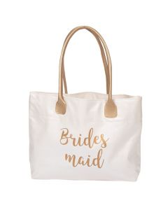 Lillian Rose™ Large White and Gold Bridesmaid Tote Bag