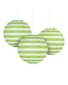 Lime Green Striped Hanging Paper Lanterns