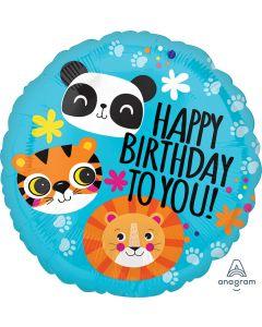 Lion, Tiger and Panda Happy Birthday Balloon