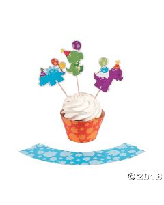 Little Dino Cupcake Wrappers with Picks