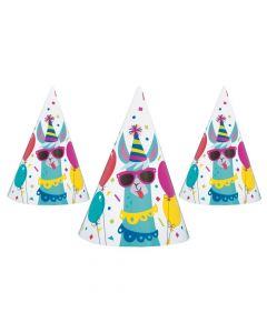 Llama Birthday Cone Party Hats