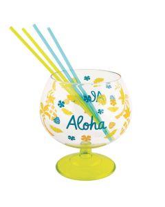 Luau Plastic Fishbowl Glass with Straws