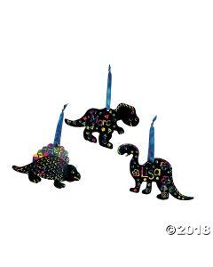 Magic Color Scratch Dinosaur Ornaments