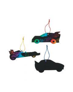 Magic Color Scratch Race Car Ornaments