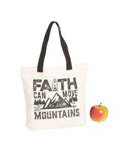 Medium Faith Can Move Mountains Canvas Tote Bag