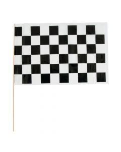 Medium Plastic Black and White Checkered Racing Flags