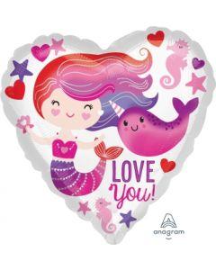Mermaid & Narwhal Love Balloon