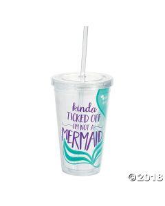 Mermaid Plastic Tumbler with Straw