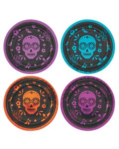 Metallic Day of the Dead Paper Dinner Plates