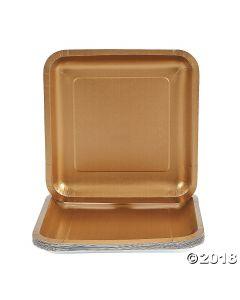 Metallic Gold Square Paper Dinner Plates