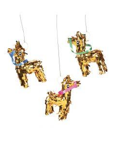 Mini Gold Fringe Donkey Pinata Decorations