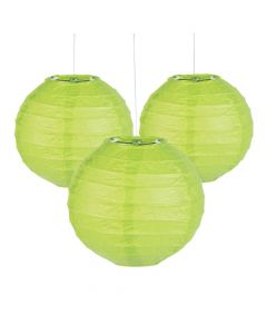 Mini Lime Green Hanging Paper Lanterns