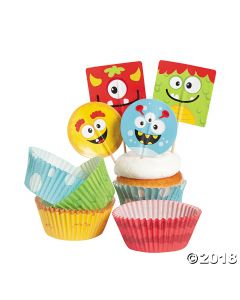 Mini Monster Cupcake Liners with Picks