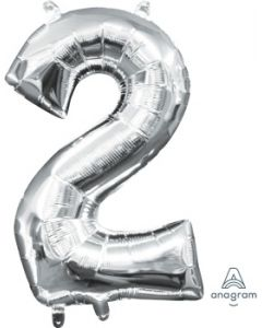 Mini Number 2 Silver Foil Balloon