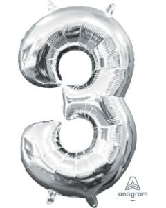 Mini Number 3 Silver Foil Balloon