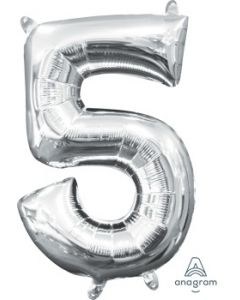 Mini Number 5 Silver Foil Balloon