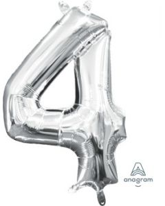Mini Number 4 Silver Foil Balloon