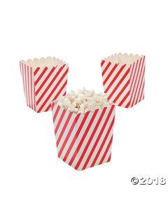 Mini Red & White Striped Popcorn Boxes