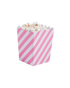 Mini Striped Candy Pink and White Popcorn Boxes