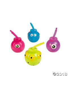 Molded Monster Cups with Straws