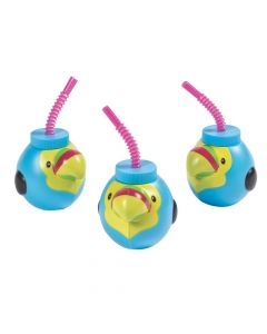 Molded Tropical Toucan Cups with Lids and Straws
