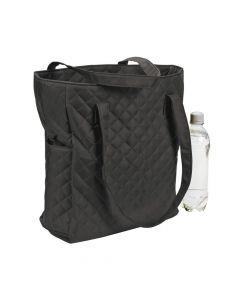 Monogrammed Black Quilted Tote Bag