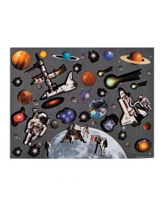 Moon and Space Station Sticker Scenes