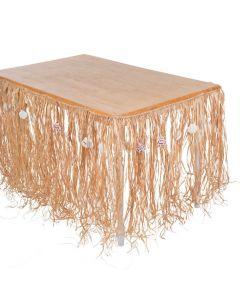 Natural Raffia and Sea Shell Table Skirt