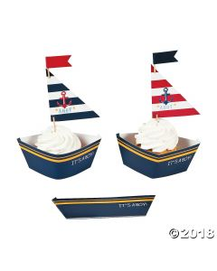 Nautical Baby Shower Cupcake Wrappers with Picks
