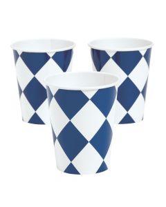 Navy Harlequin Print Paper Cups
