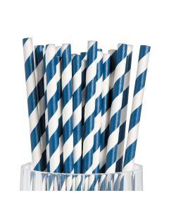 Navy Striped Paper Straws