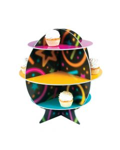 Neon Glow Party Cupcake Stand