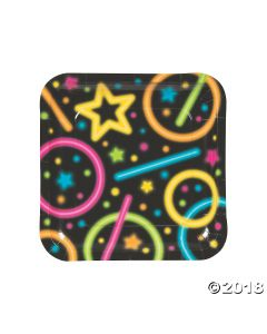 Neon Glow Party Square Paper Dinner Plates