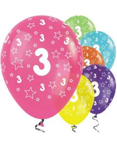 Number 3 Assorted Fashion Solid Balloons 30cm