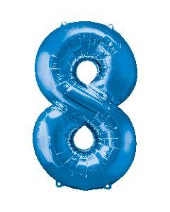 Number 8 Blue Supershape Foil Balloon
