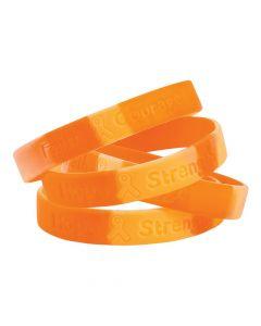 Orange Awareness Ribbon Camouflage Rubber Bracelets
