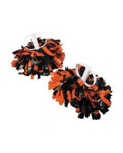 Orange and Black Spirit Show Pom-Poms