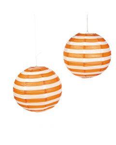 Orange Striped Hanging Paper Lanterns