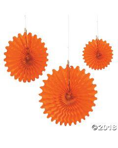 Orange Tissue Hanging Fans