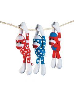 Patriotic Long Arm Stuffed Sock Monkeys