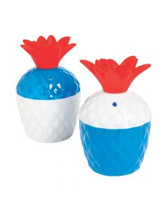 Patriotic Pineapple Molded Plastic Cups with Lids
