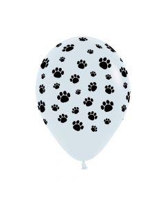 Paw Prints Black on White Fashion Solid Balloons 30cm