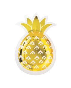 Pineapple-Shaped Paper Dessert Plates - 8 Ct.