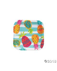 Pineapple Square Paper Dessert Plate