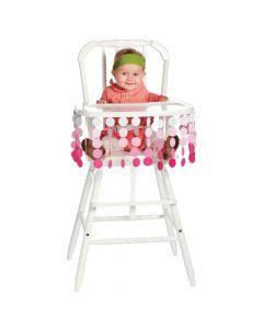 Pink Polka Dot High Chair Decor