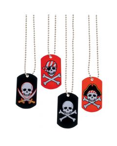 Pirate and Crossbones Dog Tag Necklaces