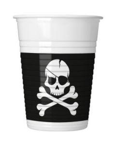 Pirates Black Skull Plastic Cups