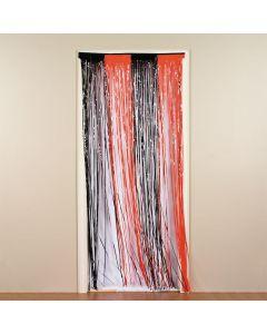 Plastic Orange and Black Fringe Door Curtain
